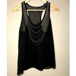 Club Monaco Black Sheer Silk Metallic Neckline Top